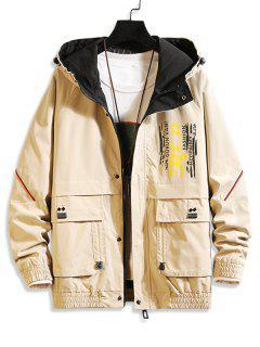 Letter Paint Print Ragan Sleeve Pocket Hooded Jacket - Khaki Xl
