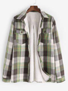 Plaid Pocket Faux Fur Lined Shirt Jacket - Light Green M