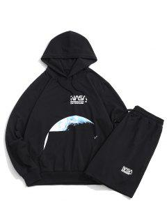 Moon Space Shuttle Letter Pattern Hoodie And Shorts - Black S