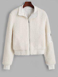 ZAFUL Ribbed Trim Zippered Teddy Jacket - White L