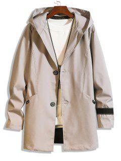 Hooded Single Breasted Double Pockets Trench Coat - Light Gray M