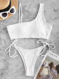 ZAFUL Skew Neck Cutout Tie Side Tanga Bikini Swimwear - White S