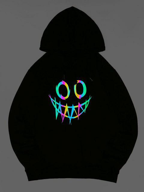 womens ZAFUL Luminous Cartoon Print Kangaroo Pocket Hoodie - LIGHT PINK L Mobile