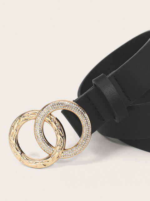 fancy Rhinestone Double Ring PU Leather Waist Belt - BLACK  Mobile