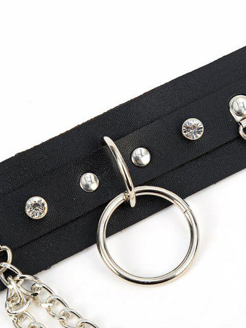 womens Punk Rivet Chain Waist Belt - BLACK  Mobile