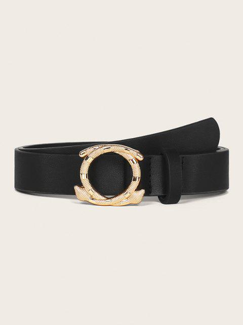 women Engraved Snake Shape Buckle Belt - BLACK  Mobile
