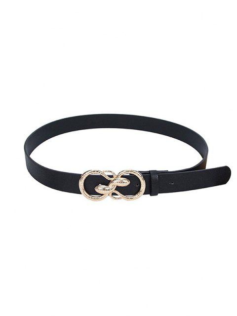 ladies Snake Buckle PU Leather Waist Belt - BLACK  Mobile