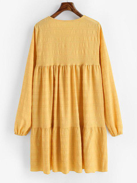trendy V Neck Casual Long Sleeve Tunic Dress - DEEP YELLOW XL Mobile