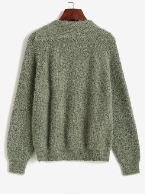 Camisola de Lã Tricotada com Mangas Raglan de Botão - Verde de Floresta Escura Um Tamanho Mobile
