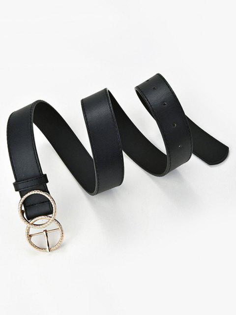 sale Engraved Circle Pin Buckle Belt - BLACK  Mobile