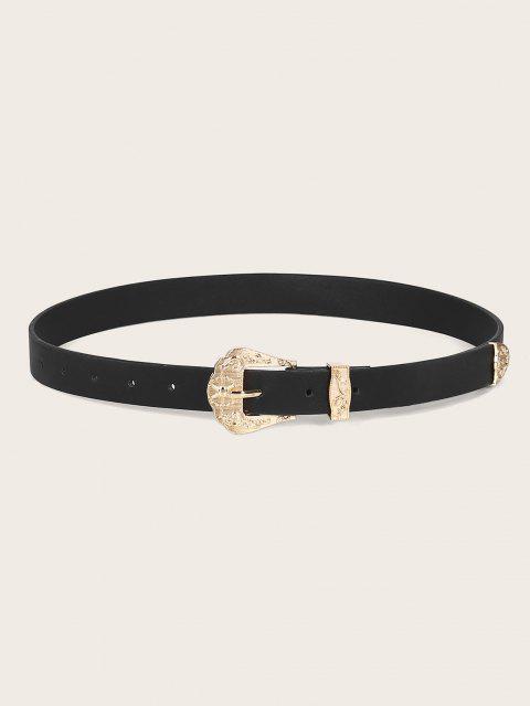 Embossed Flower Buckle PU Leather Waist Belt - أسود  Mobile