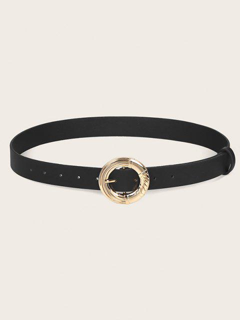 Round Engraved Buckle Waist Belt - أسود  Mobile