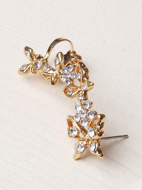 women Rhinestone Butterfly Flower Shape Cuff Earring - GOLDEN  Mobile
