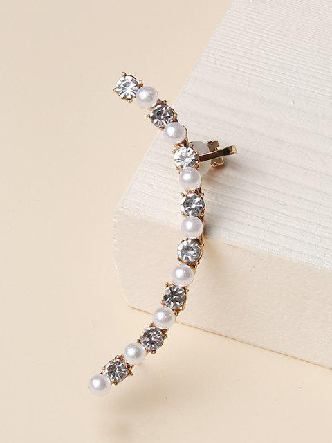 best Faux Pearl Rhinestone Cuff Earring - GOLDEN  Mobile