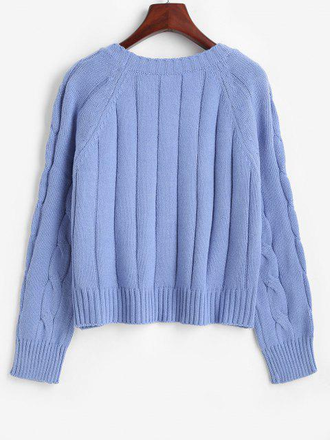buy Cable Pointelle Knit Raglan Sleeve Sweater - SLATE BLUE ONE SIZE Mobile