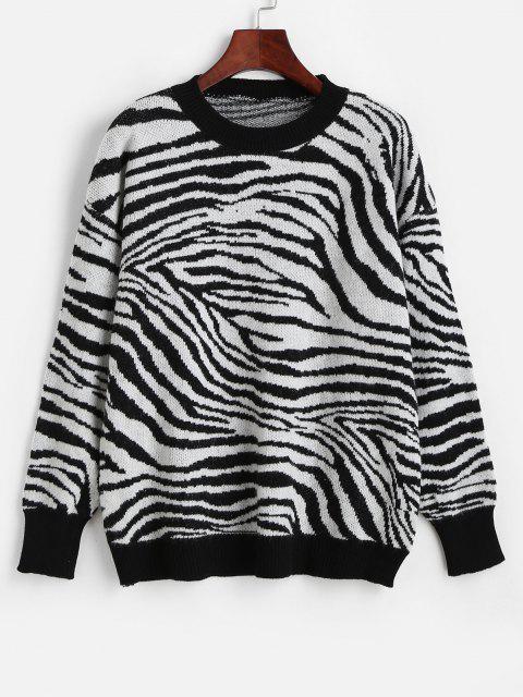 Rundhalsausschnitt Hängender Schulter Zebra Pullover - Multi-H Eine Größe Mobile