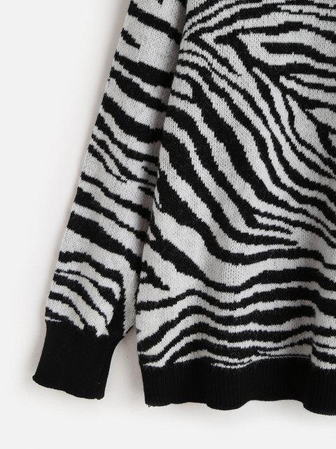 Suéter mangas longas gola cavada com estampa de zebra - Multi-H Um Tamanho Mobile