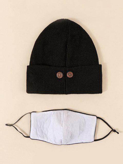 buy Label Button Knitted Hat Mask Set - BLACK  Mobile