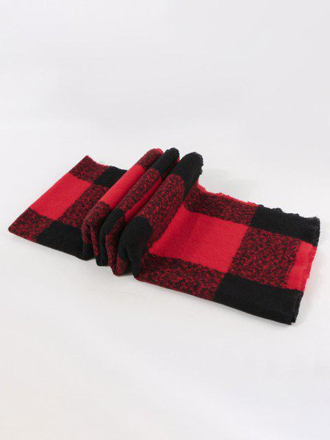 chic Checked Print Winter Long Scarf - RED  Mobile