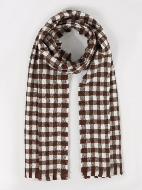 fancy Long Checkered Pattern Fringe Scarf - DEEP BROWN  Mobile