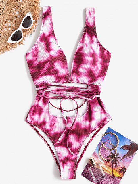 best ZAFUL Plunge Tie Dye Cutout Backless One-piece Swimwear - PINK S Mobile