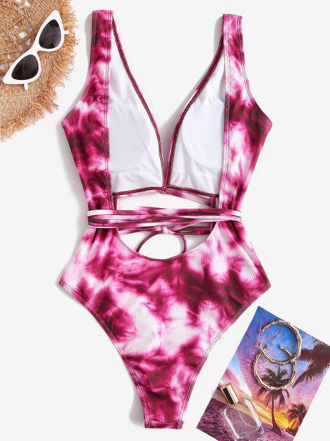 online ZAFUL Plunge Tie Dye Cutout Backless One-piece Swimwear - PINK M Mobile