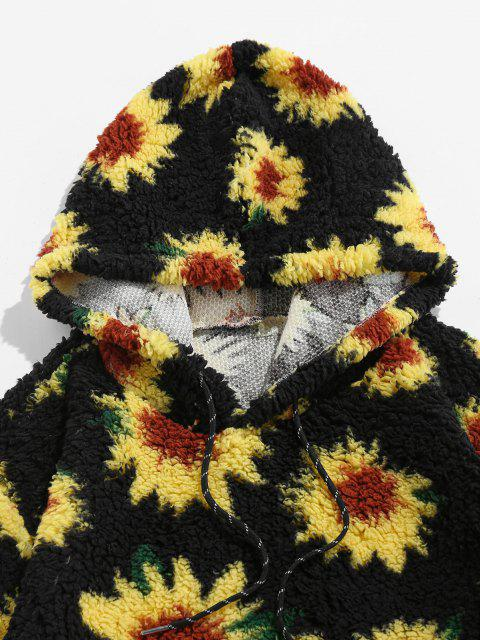 ZAFUL Sonnenblumenmuster Känguru Taschen Teddy Hoodie - Schwarz S Mobile