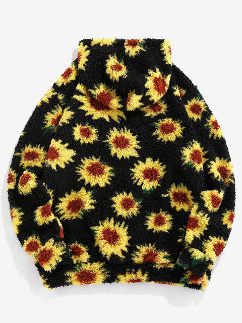 ZAFUL Sonnenblumenmuster Känguru Taschen Teddy Hoodie - Schwarz 2XL Mobile