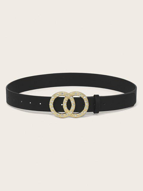 affordable Circle Buckle Rhinestone Decorative Belt - BLACK  Mobile