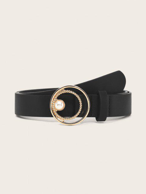 buy Faux Pearl Circle Waist Belt - BLACK  Mobile