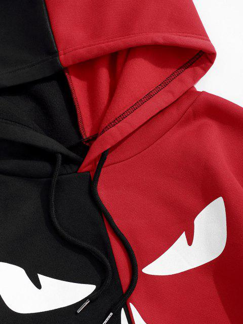 best Letters Graphic Print Contrast Fleece Hoodie - BLACK L Mobile