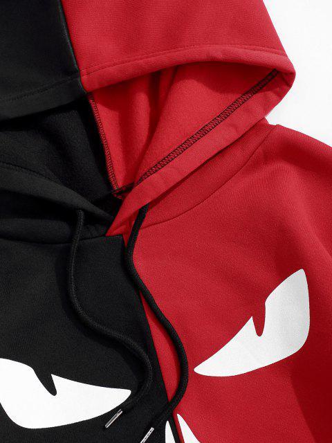 sale Letters Graphic Print Contrast Fleece Hoodie - BLACK XL Mobile