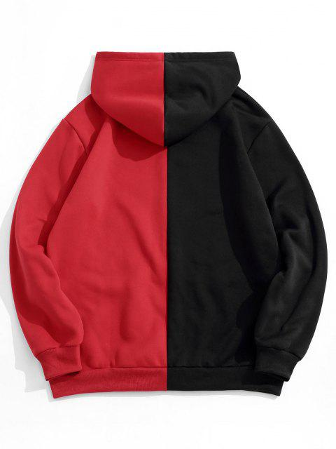 affordable Letters Graphic Print Contrast Fleece Hoodie - BLACK S Mobile
