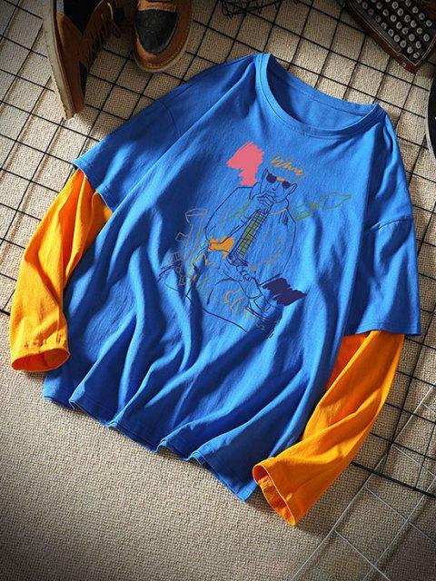 Camisa de Twinset com Figura de Flor - Azul 2XL Mobile