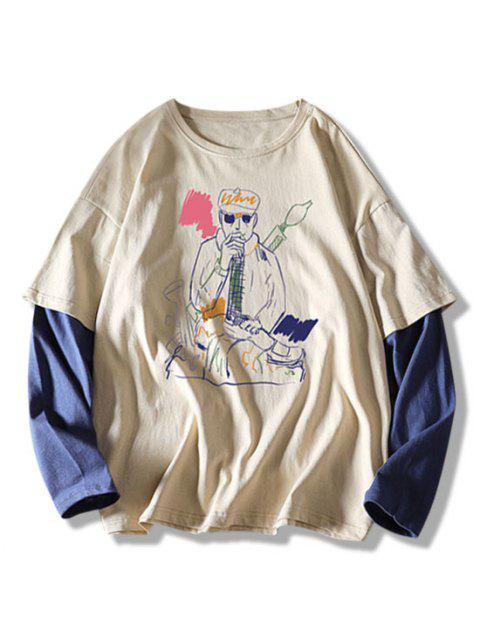 Camiseta con Estampado de Dibujo con Mangas Cortas - Caqui XL Mobile