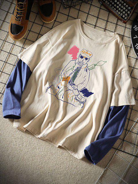 Camiseta con Estampado de Dibujo con Mangas Cortas - Caqui 2XL Mobile