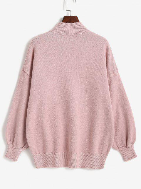 women High Neck Cable Knit Drop Shoulder Solid Sweater - LIGHT PINK ONE SIZE Mobile
