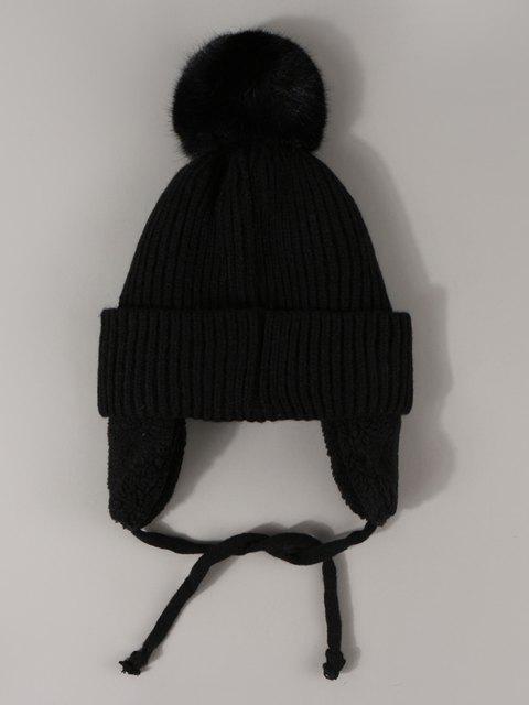 buy Inner Plush Knitted Ear Warmer Hat - BLACK  Mobile