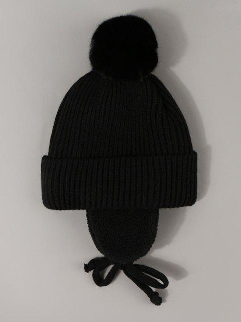 buy Inner Plush Knitted Ear Warmer Beanie - BLACK  Mobile