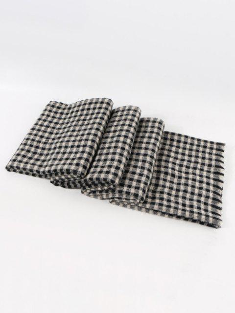 women's Long Checkered Pattern Winter Scarf - NIGHT  Mobile