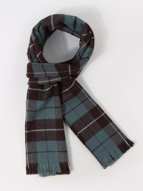 ladies Plaid Pattern Long Shawl Scarf - PEACOCK BLUE  Mobile