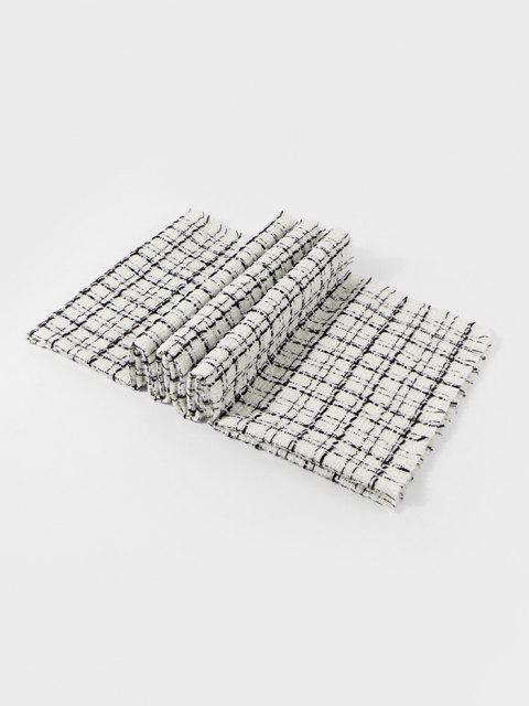 best Plaid Pattern Fringe Winter Scarf - MILK WHITE  Mobile