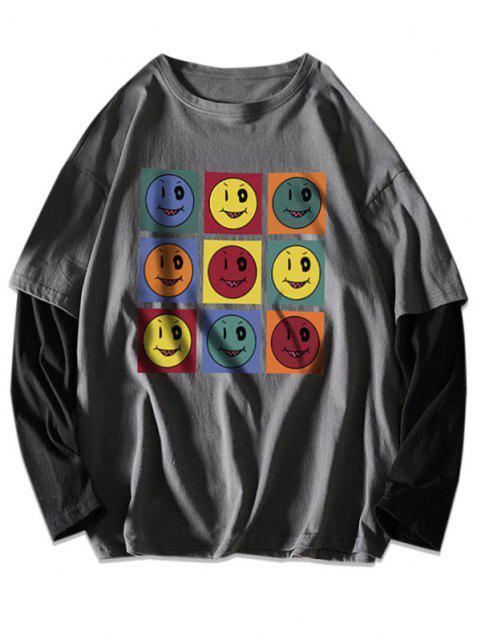 Naughty Smiling Face Print Faux Twinset T-shirt - الرمادي الداكن 2XL Mobile