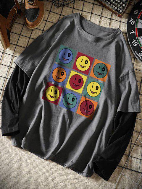 T-shirt Asymétrique Avec Manches Longues - Grigio Scuro 2XL Mobile