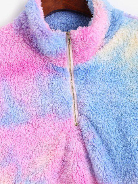 affordable ZAFUL Quarter Zip Tie Dye Fluffy Sweatshirt - BLUE S Mobile