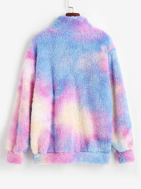 buy ZAFUL Quarter Zip Tie Dye Fluffy Sweatshirt - BLUE M Mobile