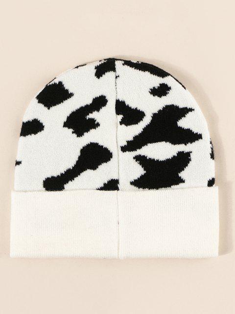 Chapeau Tricoté Vache Imprimée - Blanc Lait  Mobile