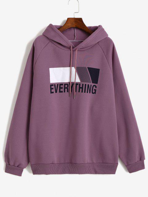 Oversize Fleece Lined EVERYTHING Graphic Hoodie - وردة بنفسجية L Mobile
