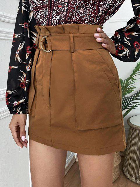 women's Mini Paperbag Skirt with Pockets - COFFEE XL Mobile