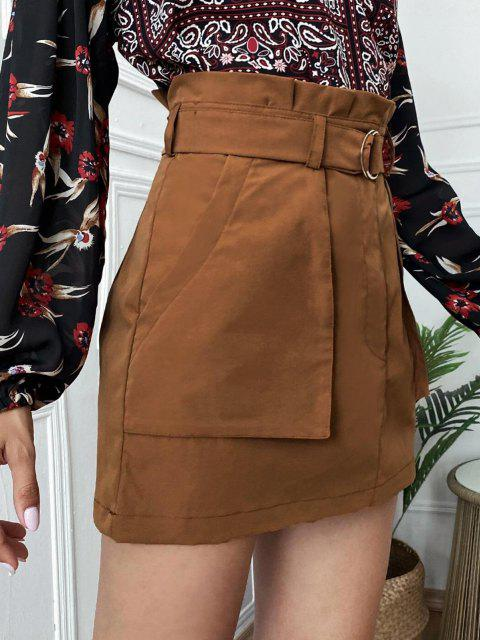 Mini Paperbag Skirt with Pockets - قهوة L Mobile
